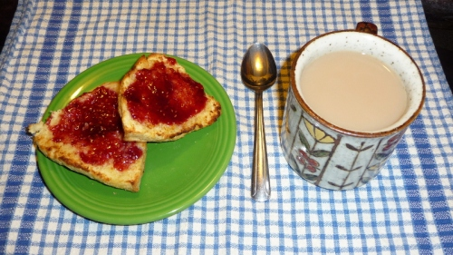 Fresh bakes scone and hot tea!